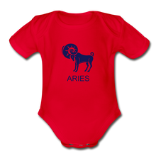 Load image into Gallery viewer, Aries Zodiac Sign Organic Short Sleeve Baby Onesie - red