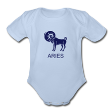 Load image into Gallery viewer, Aries Zodiac Sign Organic Short Sleeve Baby Onesie - sky