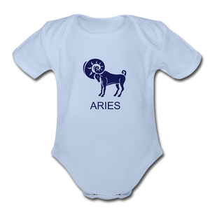 Aries Zodiac Sign Organic Short Sleeve Baby Onesie - sky