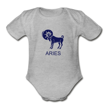 Load image into Gallery viewer, Aries Zodiac Sign Organic Short Sleeve Baby Onesie - heather gray