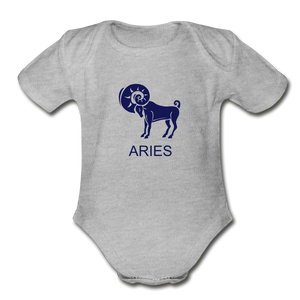 Aries Zodiac Sign Organic Short Sleeve Baby Onesie - heather gray