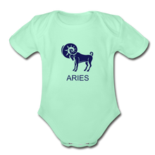 Load image into Gallery viewer, Aries Zodiac Sign Organic Short Sleeve Baby Onesie - light mint