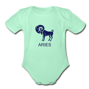 Aries Zodiac Sign Organic Short Sleeve Baby Onesie - light mint