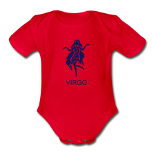 Load image into Gallery viewer, Virgo Zodiac Sign Organic Short Sleeve Baby Onesie - red