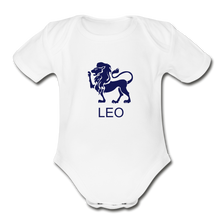 Load image into Gallery viewer, Leo Zodiac Sign Organic Short Sleeve Baby Onesie - white