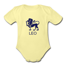 Load image into Gallery viewer, Leo Zodiac Sign Organic Short Sleeve Baby Onesie - washed yellow