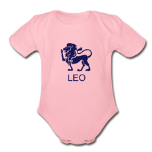 Load image into Gallery viewer, Leo Zodiac Sign Organic Short Sleeve Baby Onesie - light pink