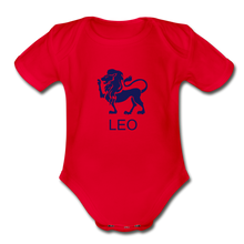 Load image into Gallery viewer, Leo Zodiac Sign Organic Short Sleeve Baby Onesie - red