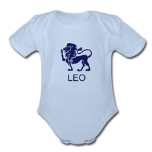Load image into Gallery viewer, Leo Zodiac Sign Organic Short Sleeve Baby Onesie - sky
