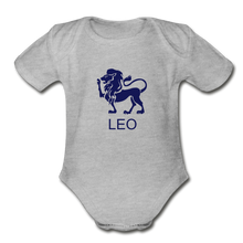 Load image into Gallery viewer, Leo Zodiac Sign Organic Short Sleeve Baby Onesie - heather gray