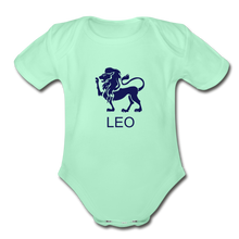 Load image into Gallery viewer, Leo Zodiac Sign Organic Short Sleeve Baby Onesie - light mint