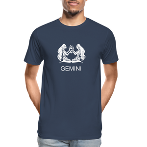 Gemini Sign Men's Premium Organic T-Shirt - navy