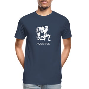 Aquarius Sign Men's Premium Organic T-Shirt - navy