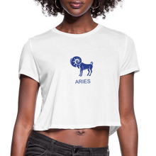 Load image into Gallery viewer, Aries Sign Women's Cropped T-Shirt - white