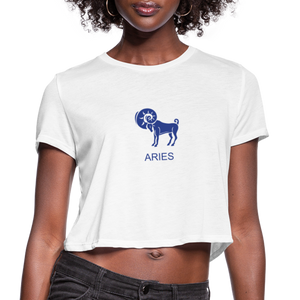 Aries Sign Women's Cropped T-Shirt - white