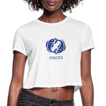 Load image into Gallery viewer, Pisces Sign Women's Cropped T-Shirt - white
