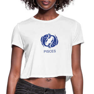 Pisces Sign Women's Cropped T-Shirt - white