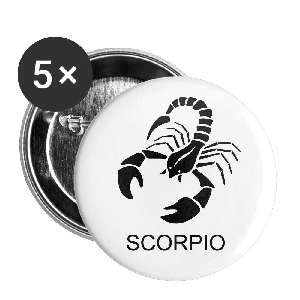 Scorpio Sign Buttons small 1'' (5-pack) - white