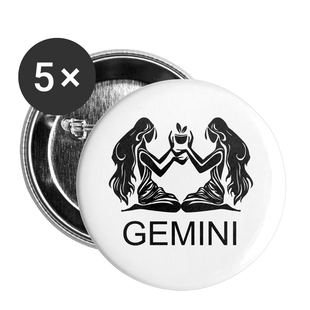 Gemini Sign Buttons small 1'' (5-pack) - white