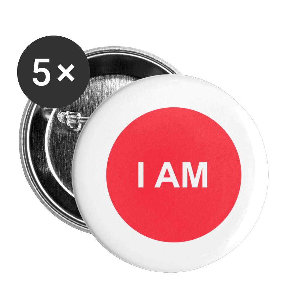 I AM Root Chakra Buttons small 1'' (5-pack) - white