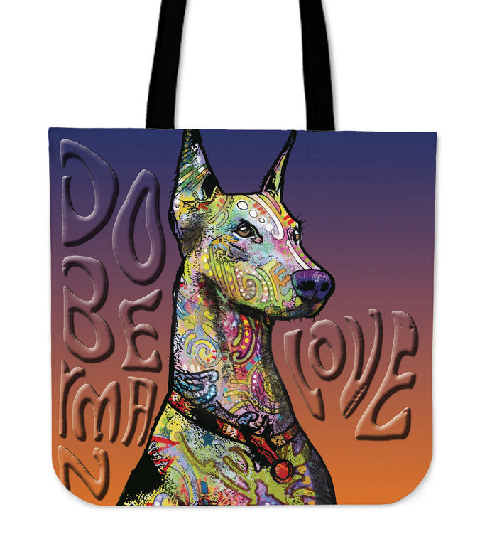 Doberman Linen Tote Bag