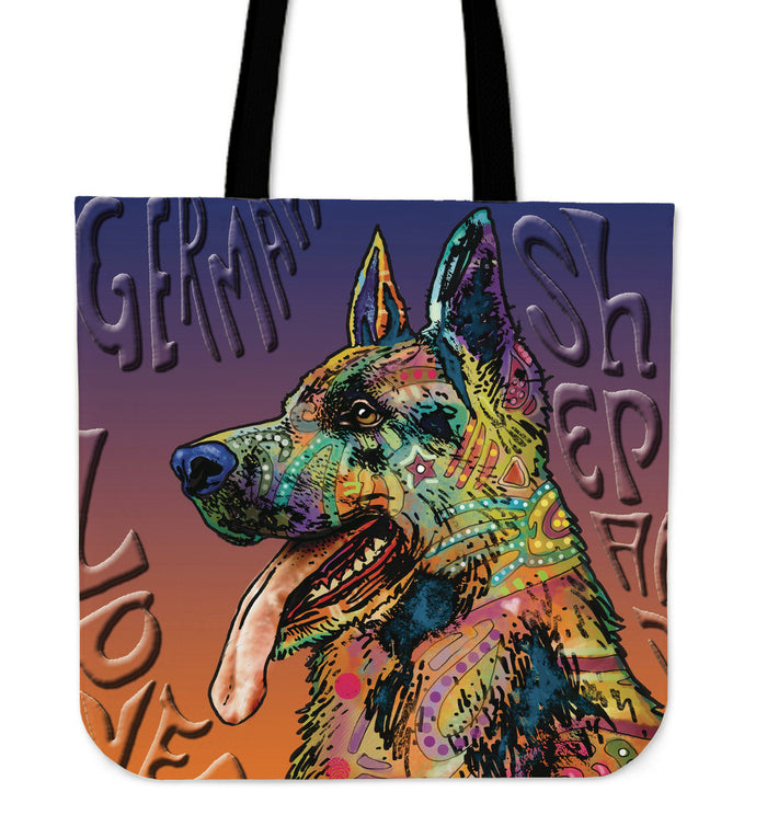German Shepherd Linen Tote Bag