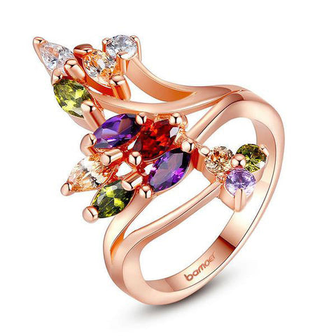 Gold Plated Colorful Zircon Finger Party Ring