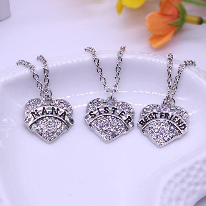 Family Gift Heart Inlaid Rhinestone Lettering Necklace Offer