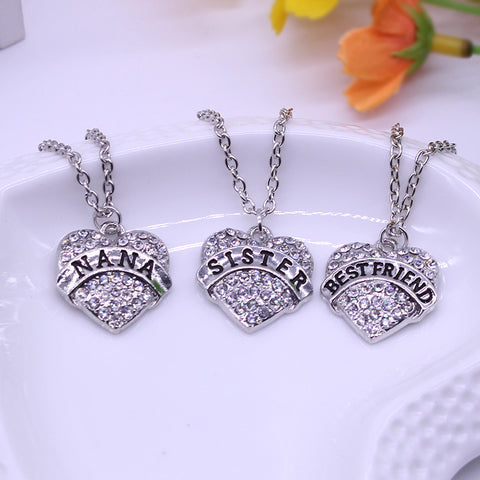 Family Gift Heart Inlaid Rhinestone Lettering Necklace