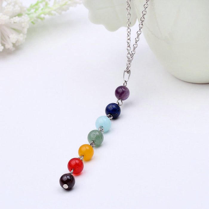 7 Chakra Gem Stone Beads Pendant Necklace