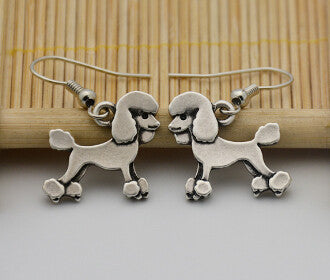 Bohemian Vintage Silver Poodle Charm Drop Earrings