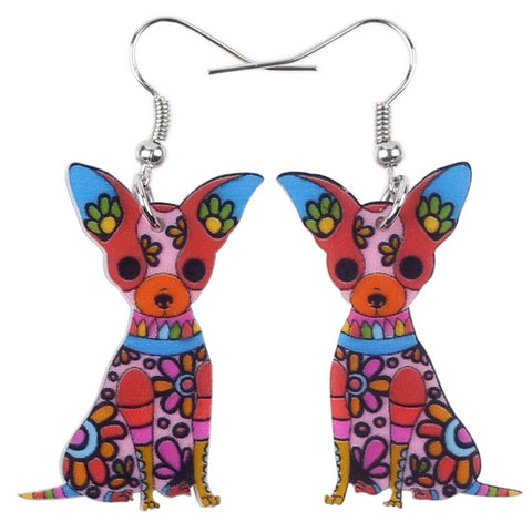 Big Long Animal Acrylic Dangle Drop Chihuahua Earrings