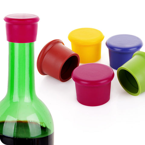 5 Pcs Assorted Colors Silicone Reusable Wine Bottle Caps Offer
