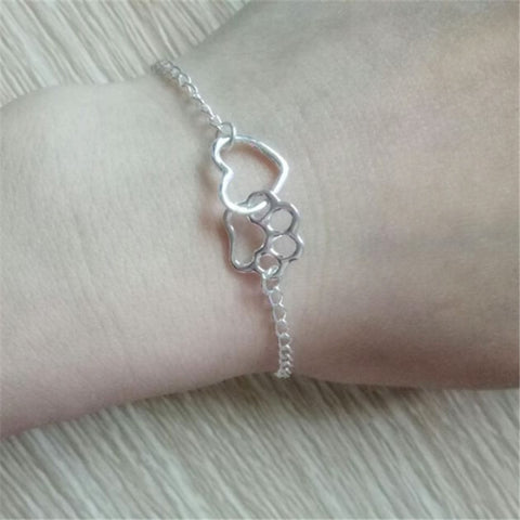 Love Heart Dog Paw Charm Bracelet