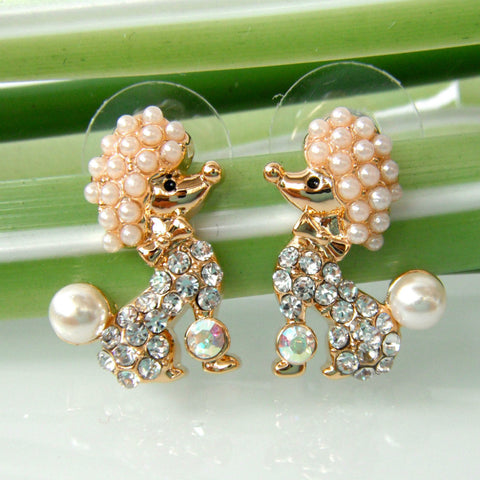 Poodle Crystal Earrings