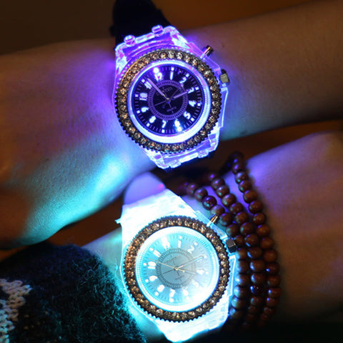 Silicone Diamond LED Watch