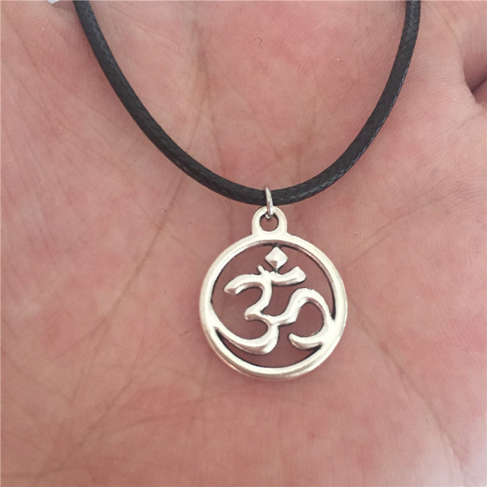 Antique Silver Leather Chain OM Necklace