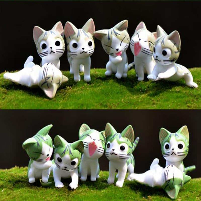 Bonsai Mini Cute Cat Landscape Figurines (6 Piece Set)
