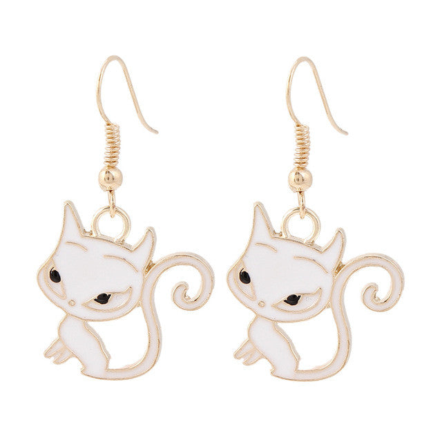 Big Eye Long Tail Cat Earrings Pair