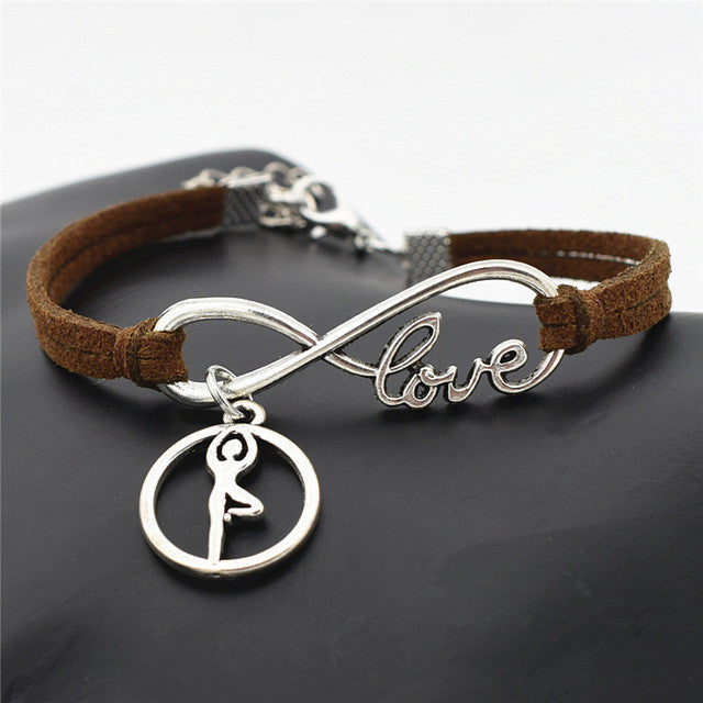 Handmade Chakra Yoga Charms Leather Bracelet Offer