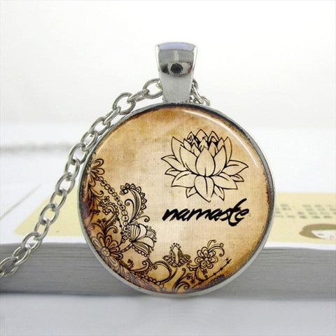 Namaste Yoga Dome Pendant Necklace Style 3