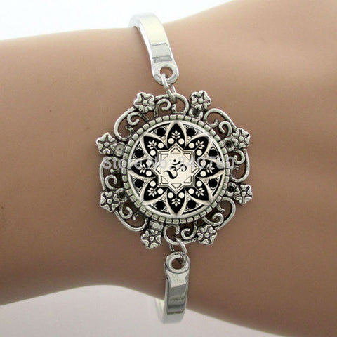 Yoga Glass Dome Flower Charm Bracelet (19 styles)