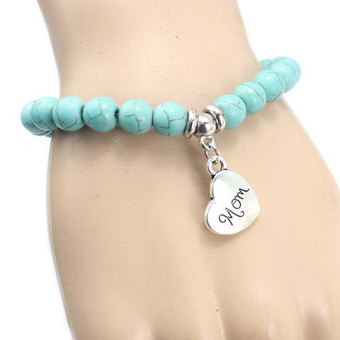 Turquoise Bead Charm Bracelet For Women