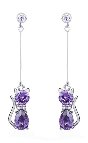 Cat Crystal Long Earrings