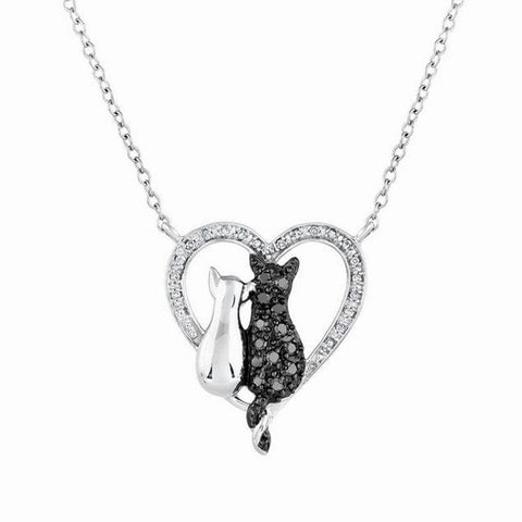 Black & White Cat in Heart Pendant Necklace Style RX Offer