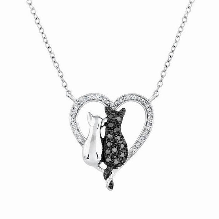 Black & White Cat in Heart Pendant Necklace Style RX