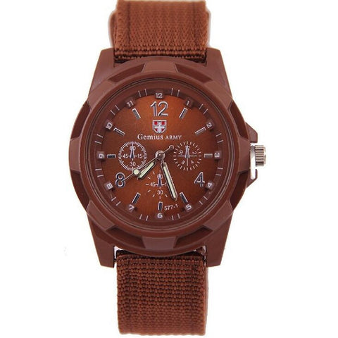 Military Army Sport Style Canvas Belt Quartz Wrist Watch