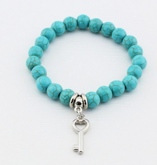 Vintage Charms Turquoise Beads Pendant Womens Bracelet