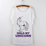 Hold My Unicorn T Shirt Women's Batwing Sleeve Regular Length White Assorted Graphics
