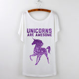 Purple Unicorns Are Awesome T Shirt Women's Batwing Sleeve Regular Length White Assorted Graphics